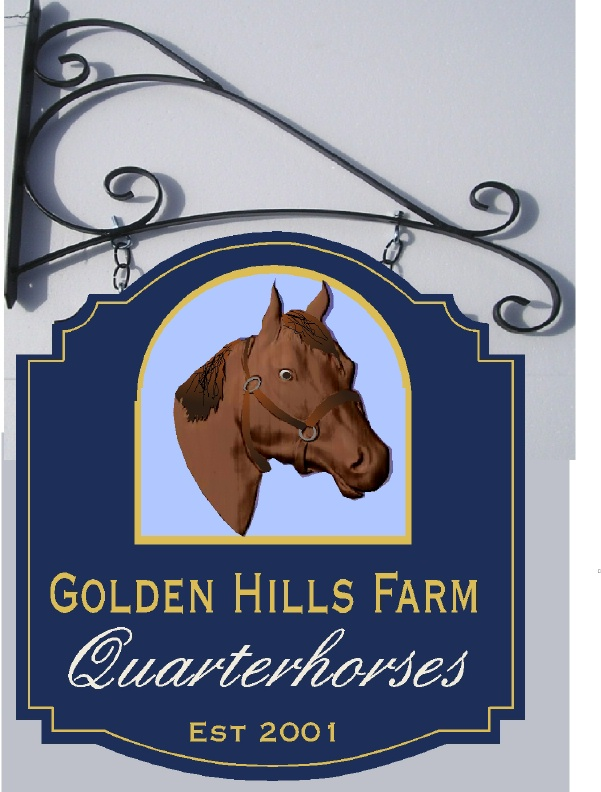 "P25074- Carved HDU Sign ""Golden Hills Quarterhorses"" with Image of Horse Head"
