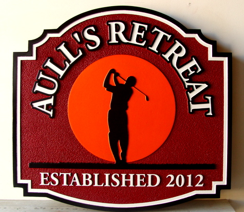 "E14787 -Golfer Retreat Sign with  with ""Top of Swing"" Silhouette Image of Golfer"