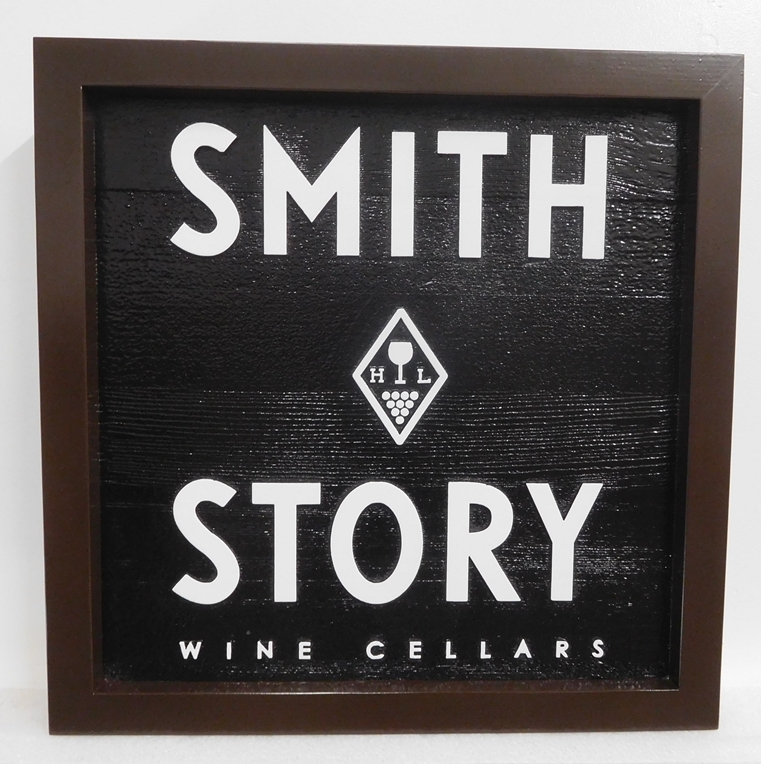 "R27096 - Carved Cedar Sign for  ""Smith Story Wine Cellars""  with  2.5-D Raised  Logo,  Text and  Border."
