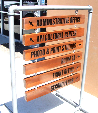 M3926 - Hanging Engraved Cedar Wayfinding Signs, for a Museum (Gallery 15)