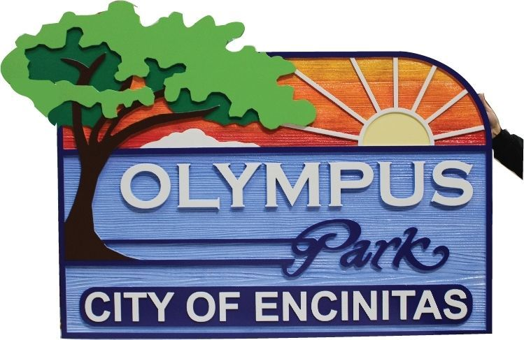F15559 - Carved 2.5-D and Sandblasted Western Red Cedar Wood  Sign for the City of Encinitas with a Tree, the Pacific Ocean and Sunset as Artwork