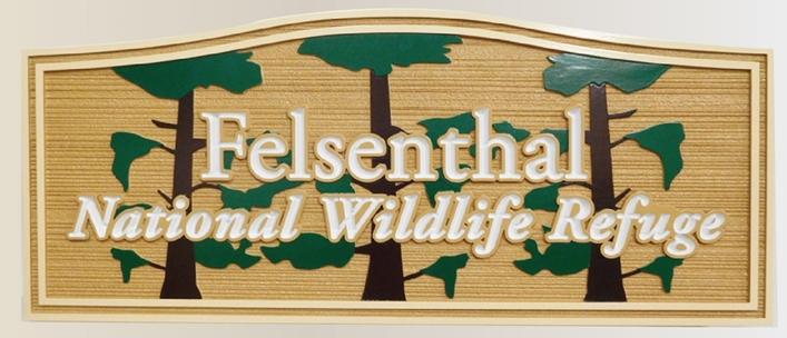 """G16032 -  Large  Carved HDU  """"Felsenthal"""" National Wildlife Refuge Sign"""