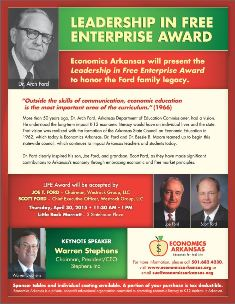 Presenting the Leadership in Free Enterprise Award to Ford Family