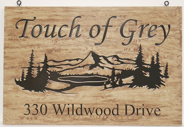 "M22340 - Engraved Lake Cottage Address Sign, with Lake and Mountains ""Touch of Grey"""