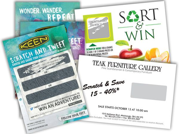 Some scratch and win cards various sizes