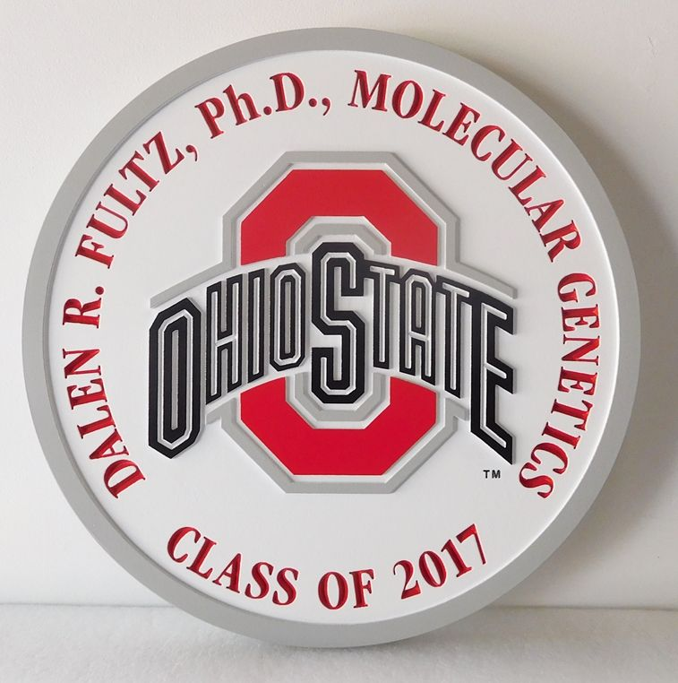 Y34372 -  Carved 2.5-D Flat Relief Wall Plaque of the Logo of Ohio State University