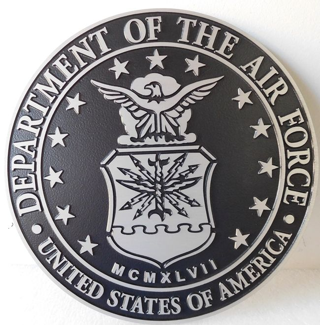 V31513 -  2.5-D Flat Relief Aluminum Wall Plaque of the US Air Force  Seal
