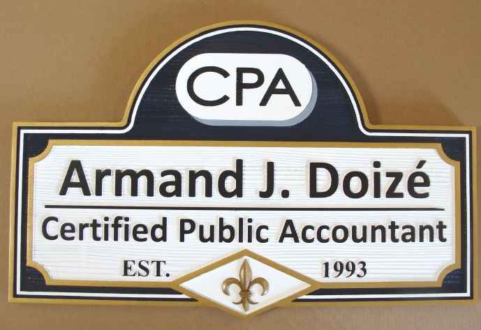 C12001 - Carved CPA Sign made from  HDU