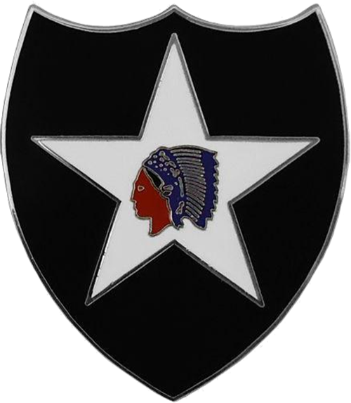 """MP-1440 - Carved Plaque of the Insignia of the 2nd Infantry Division of the US Army,  """"Indianhead"""",  Artist Painted"""