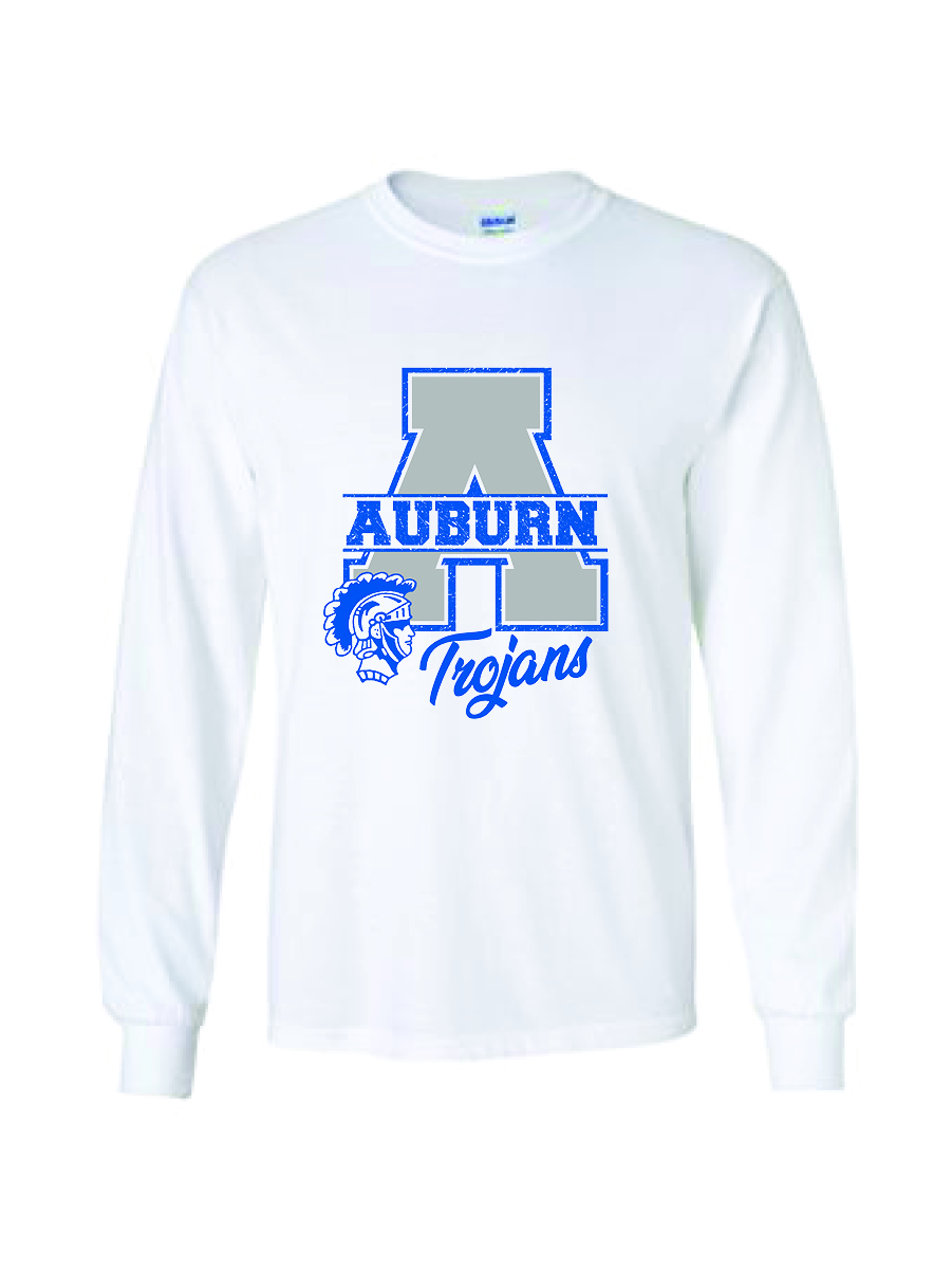 "Auburn ""A"" long sleeve shirt (white)"