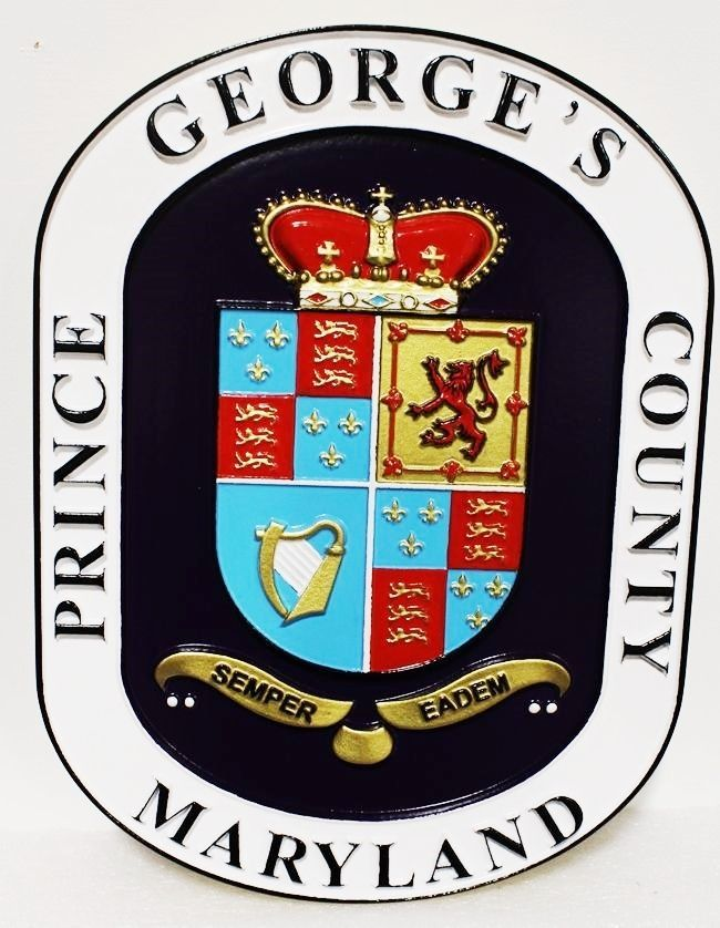 XP-1177 - Carved Plaque of the Coat-of-Arms of Prince George's County, Maryland, 3-D Artist-painted