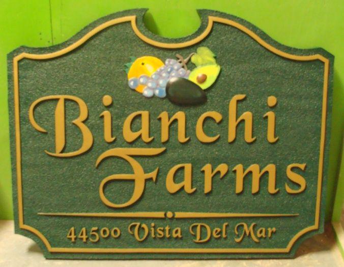 O24702 - Farm Sign with Address, Avocado, Grapes and Orange