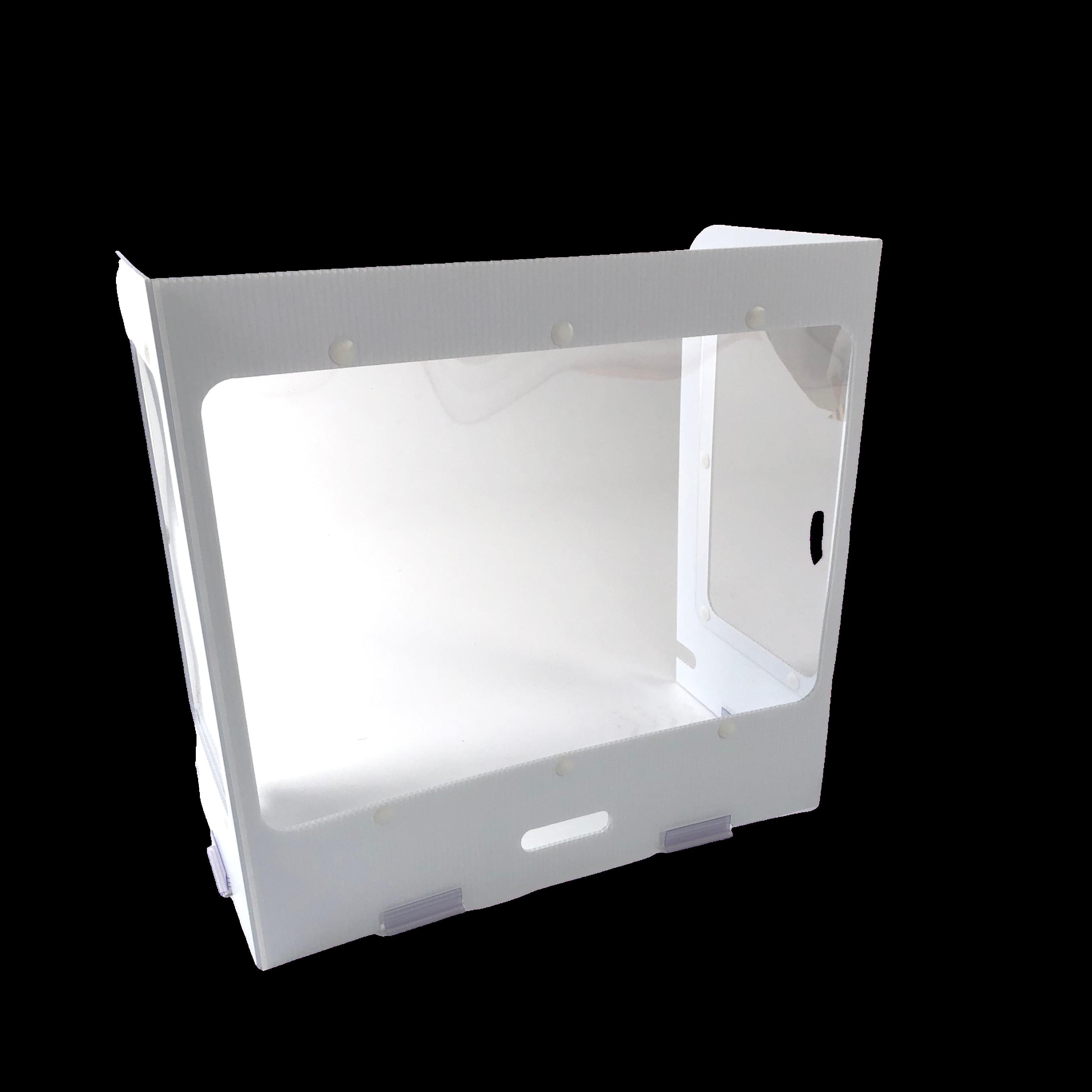 "24""w x 24""h x 12'd 3-Sided Portable Coroplast Desk Shield"