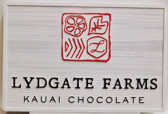 Q26534 - Carved and Sandblasted Redwood Sign for the Lydgate Farms -Kauai Chocolate, 2.5-D Raised Outline Relief, Artist-Painted