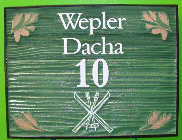 M22246 - Sandblasted Redwood Sign for Dacha with Skis and Pine Branches