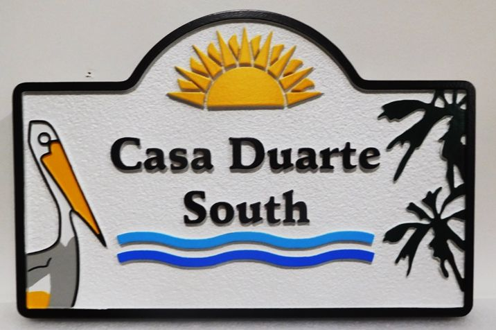 L21637 - Carved and Sandblasted Beach House Sign with Peplican, Sun, Waves and Palmetto Trees as Art