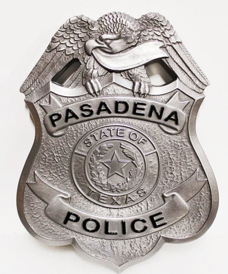 PP-1325 - Carved 3-D Bas-Relief Aluminum-Plated  HDU Shield Badge Wall Plaque  for the Police Department of Pasadena, Texas ,