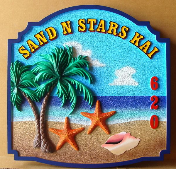 "L21106 - Carved HDU Beach House Sign, ""Sand & Stars Kai"" with 3-D Palm Tree, Conch Shell, and Starfish"