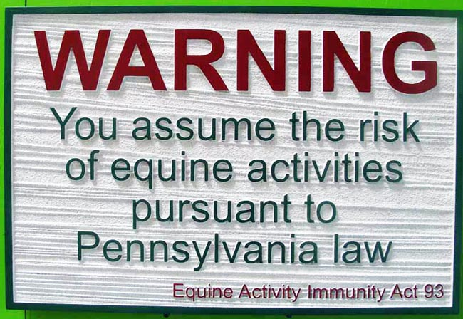 P25392- Equine Activities Warning Sign - Pennsylvania