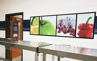 Food art mural in school café wall, custom signs, images of fresh fruit and vegetable
