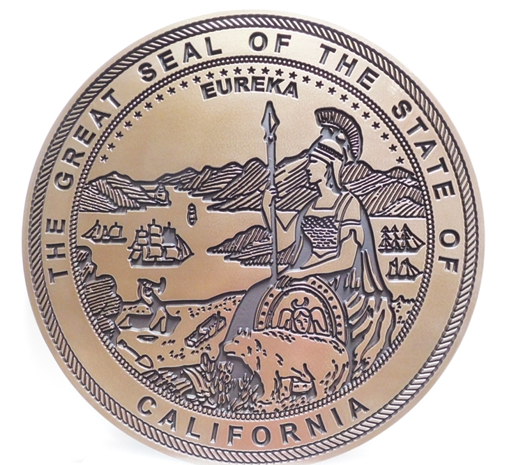 BP-1072 - Engraved Plaque of the Seal of the State of California, Artist Painted in 2 colors