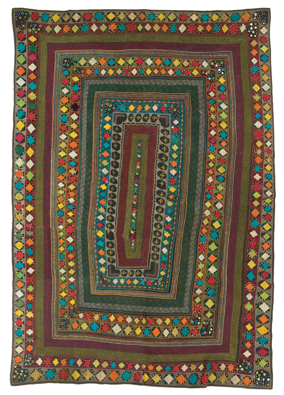 Ralli quilt, Saami People, probably made in Badin district, Sindh, Pakistan, circa 1970-1990, purchase made possible through James Foundation Acquisition Fund, 86.5 x 60 in, IQSCM 2005.033.0003
