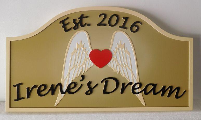 """GC16680 - Carved  (HDU) Custom Memorial Wall Plaque, """"Irene's Dream"""", 2.5-D Raised Relief with Angel's Wings and Heart as Artwork"""