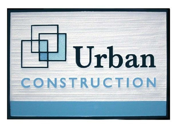 """SA28666 - Carved HDU Sign for """"Urban Construction Company"""" with Stylized  Block Logo as Artwork"""