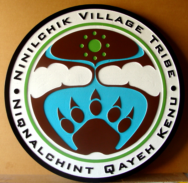 "M22886 - Carved HDU Native American ""Ninilchik"" Village Tribe Sign, with Bear Paw"