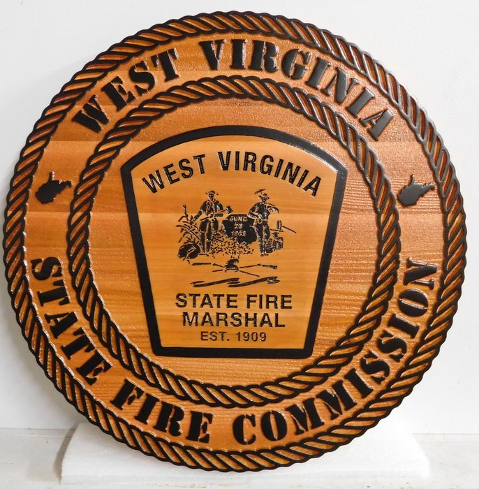 QP-3140 - Carved Wall Plaque of  the Seal/Emblem  of the West Virginia State Fire Commission,  Cedar Wood