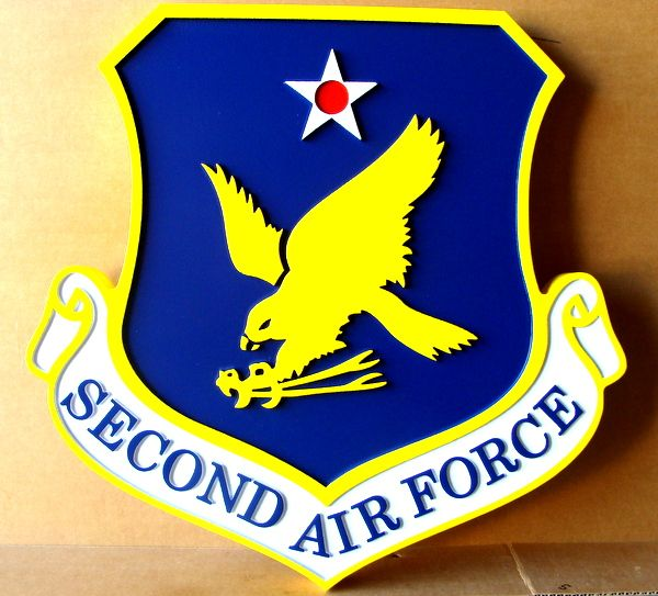 V31546– Carved 2.5-D Wall Plaque of the Shield of the Second Air Force, with Eagle