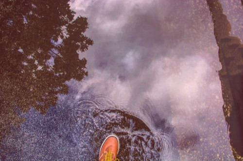 Image of rainboot in a puddle reflecting trees and sky.