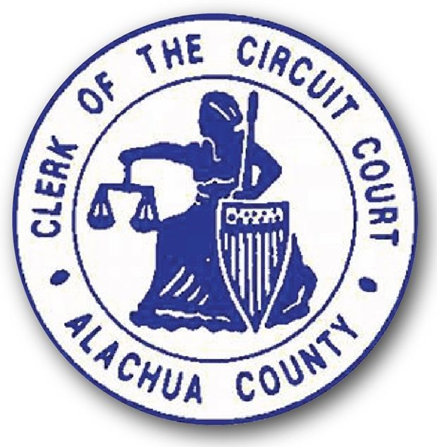 HP-1400 - Carved Plaque of the Seal of the Circuit Court,  Aluchua County, Florida, Artist Painted