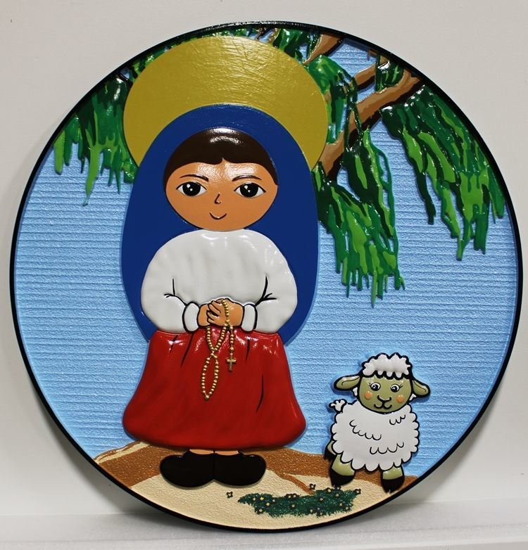 N23034 - Plaque featuring a  Painting of a Girl with a Halo  Holding a Cross,  next to a Lamb