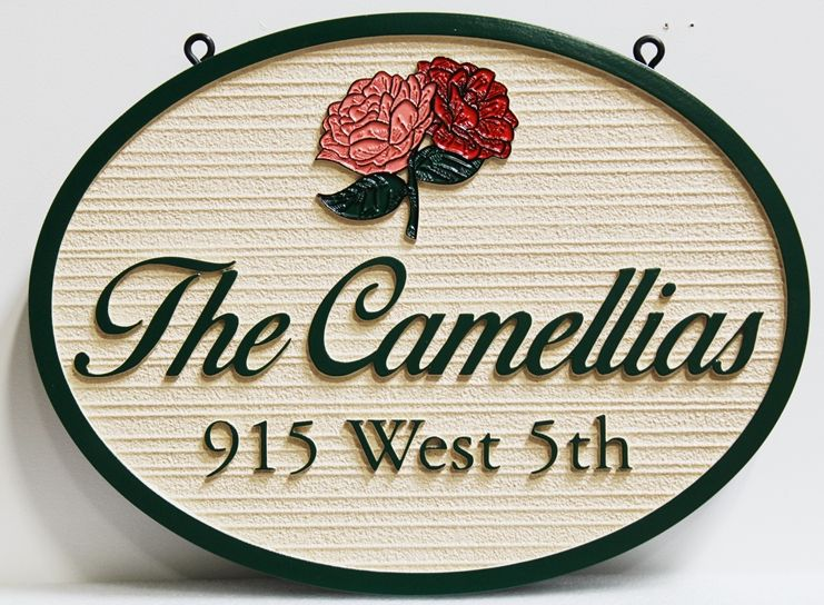 "I18244 - Carved High-Density-Urethane (HDU)  Property Name and Address Sign  for  ""The Camellias""., with Camellia Flowers as Artwork"