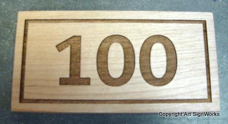I18880 - Engraved Natural Wood House Address Number Plaque