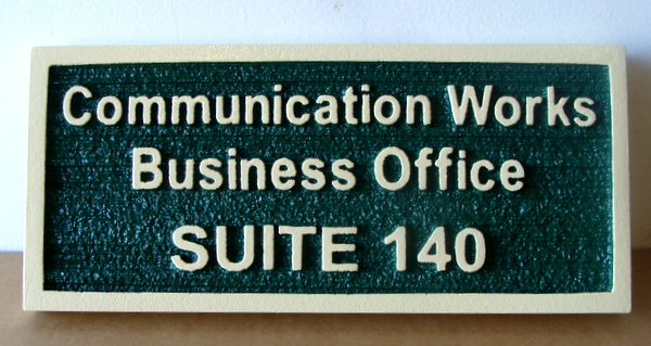 SB28979 - Carved  and Sandblasted HDU  Business Office Sign for the Communications Works Company, with Raised Text and Border