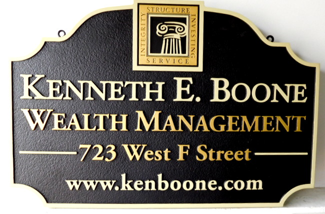 M1642 - Carved Wealth Management Firm Outdoor Sign (Gallery 12)