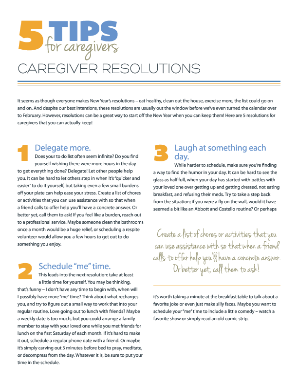 5 Tips for Caregiver Resolutions