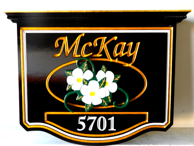 SM37 - Residence Address Sign with Carved 3D Dogwood Flower (Gallery 18)