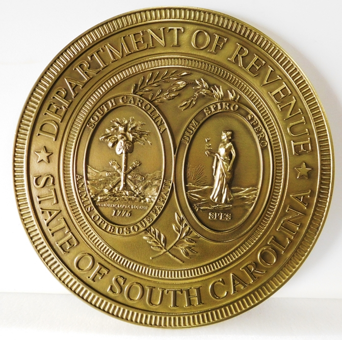 BP-1485 - Carved Plaque of the Great Seal of the State of South  Carolina, Department of Revenue, Brass Plated
