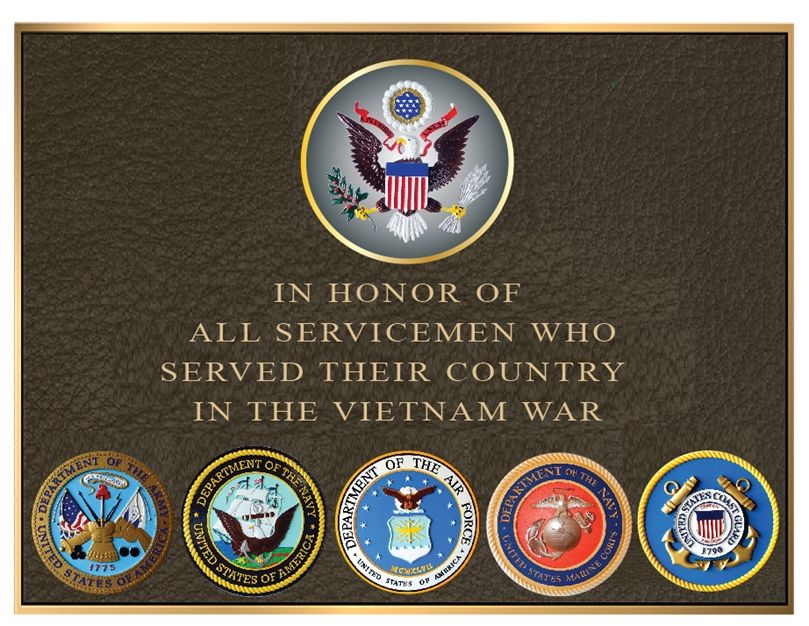 MB2450-  Brass-Plated  Vietnam War Memorial Plaque with Giclee Photos of Armed Forces Seals