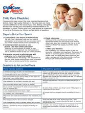 How to Choose Child Care Checklist