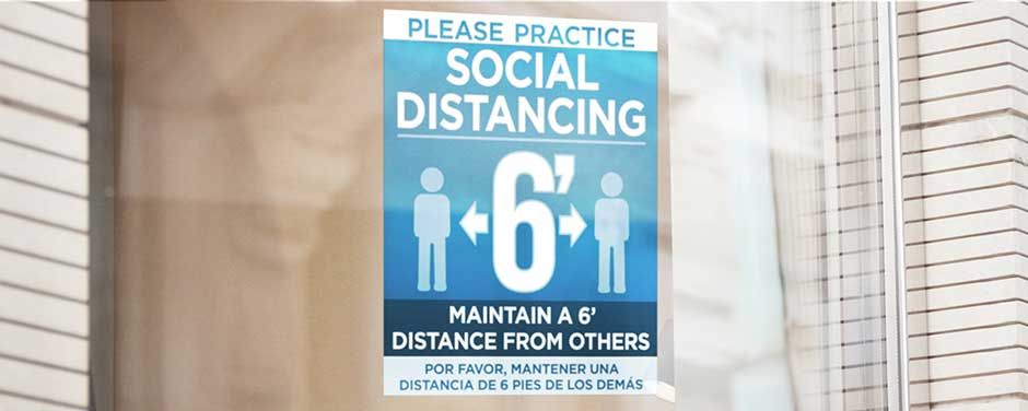 Social distancing window and door decals