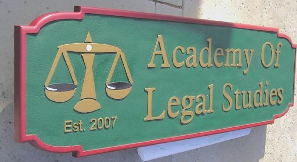A10920 - Academy of Legal Studies Sandblasted HDU Sign