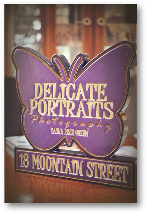 "SA28408 - Carved and Engraved Butterfly Shaped Sign for ""Delicate Portraits"", Photography Studio"