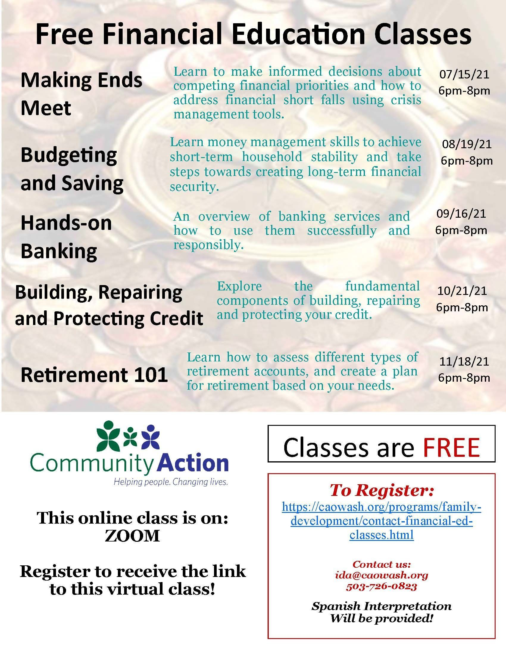 Flyer with more information on the financial education classes. Please email ida@caowash.org for a PDF version if needed.
