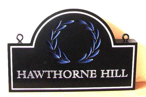 "I18342 - Carved and Engraved HDU Property Name Sign ""Hawthorne Hill"", with Laurel Wreath"