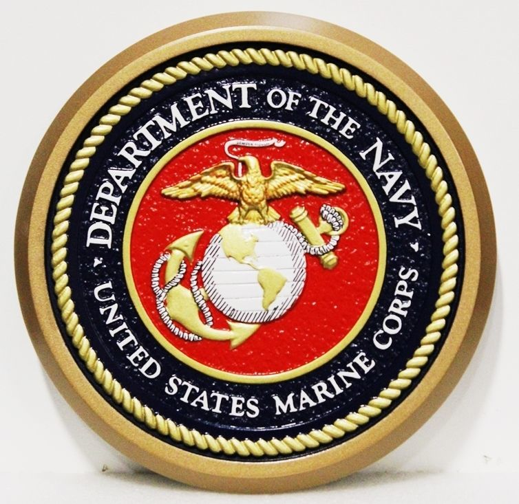 KP-1052 - Carved 3-D Mahigany Wood Plaque of the Seal of the United StatesMarine Corps (USMC)