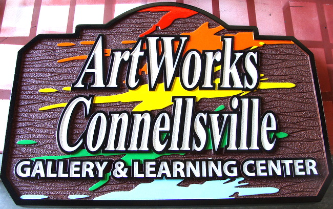 "SA28417 - Colorful Sign for ""Art Works"" Children's Painting Gallery and Learning Center"
